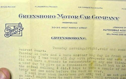 Greensboro Motor Car Company -  Buick - GMC  - NC letterhead  circa 1930s