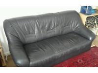 Black Leather Sofas set