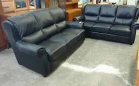 Black Leather Twin 3 Seater Sofa Suite