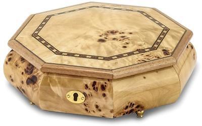 Walnut Burl Veneer w/ Inlay Locking Octagonal Music Jewelry Box Plays Fur (Octagonal Music Jewelry Box)