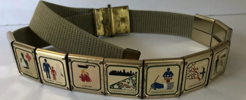 Official Boy Scouts of America Canvas Belt 11 Badges and Brass Buckle VTG BSA