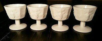 4 Vintage Westmoreland Milk Glass Paneled Grape 4oz Sherbert Low Stem Goblets