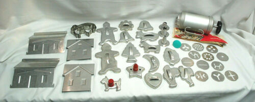 Mirror Cookie Press Kit & Assorted Metal / Aluminum Cookie Cutters Vtg. S9206