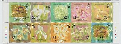 Solomon Islands Orchids of the Island Strip of 10 stamps UM