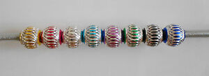 10 - 20 or 50 ALUMINIUM LANTERN BEADS SPACERS VARIOUS COLOURS EUROPEAN