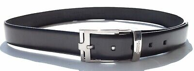 NEW100% AUTH VERSACE  BLACK LEATHER BELT CHROME BUCKLE 90 105  36 ADJUSTABLE