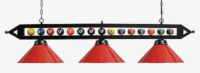 "59"" Black Metal Ball Design Pool Table Light Billiard lamp W Red  Metal Shades"