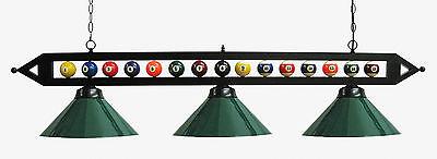 "59"" Black Metal Ball Design Pool Table Light Billiard lamp W Green Metal Shades"