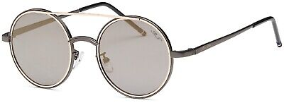 Women Aviator Double Metal Bar Classic Vintage Retro Round Lens Sunglasses (Round Metal Bar)
