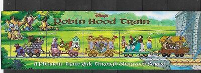 HICK GIRL- MINT GUYANA STAMPS   DISNEY  ROBIN HOOD TRAIN  STRIP OF 5      A1