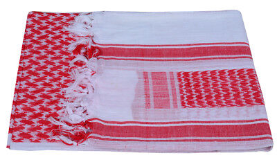Shemagh Keffiyeh Military Army Tactical Desert Arab Fashion Cotton Scarf RED WHT