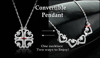 Heart Four Leaf Clover shamrock 18K gold plated CZ Pendant Necklace 17