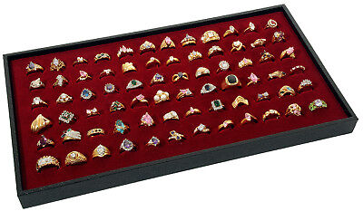 72 Ring Burgundy Display Insert W Black Plastic Travel Stackable Jewelry Tray
