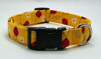 Lady Bug & Daisy on Yellow Fabric Dog Collar Adjustable Handmade Custom Designer](Yellow Lady Bug)