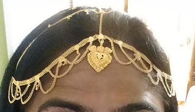 gold maang tikka headpiece hair chain matha patti saree wedding jewelry India
