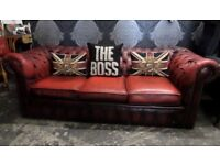 Stunning Chesterfield Shabby Chic Oxlood Red Leather 3 Seater Sofa Settee Couch - UK Delivery