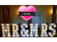 LOVE LETTER MR & MRS INITIAL LETTERS FLORAL LETTERS LIGHT UP LETTER HIRE