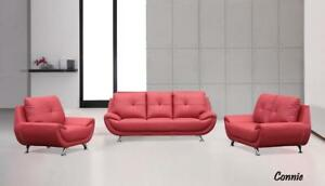 Lord Selkirk Furniture - Connie - 3PC Set Sofa, Loveseat and Chair in Red Leather Gel- $1599.00