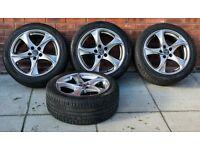 "18"" Wolfrace Catania silver rims with part worn Nokian 245/45 winter tyres"