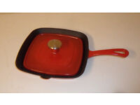 Panini Press - Red Enamel Cast Iron Griddle Skillet Frying Pan - with Press - NOT 'Le Creuset'