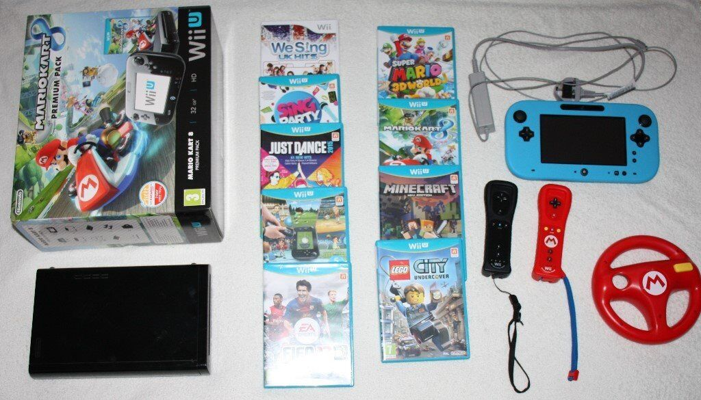 Nintendo Wii U 32GB Black HD console with 9 games and accessories bundle boxed