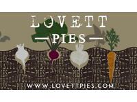 Weekend stall holder for Lovett pies.