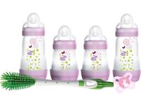 NEW INBOX MAM NEWBORN FEEDING SET -BABY GIRL CONTAINS 4 ANTI COLIC BOTTLES,1 SOOTHER, 1 BOTTLE BRUSH