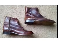 Mens Brown Leather Chelsea Boots - from Office - Size 10 - Side Zips