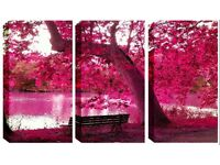 3 Panel Canvas -Pink Blossom Tree - Reduced from £70.00 to clear BRAND NEW