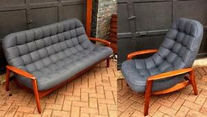 RESTORED Iconic Mid Century Modern Teak Sofa, Lounge Chair - Scoop by Huber. Like NEW