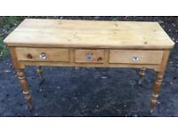 ANTIQUE VICTORIAN PINE TABLE 3 DRAWERS