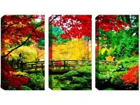 3 Panel Canvas - Charming Bridge - Reduced from £70.00 to clear BRAND NEW !!