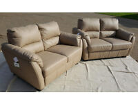 2 X BRAND NEW Trieste 2 Seater Leather Sofa-Taupe. Delivery available