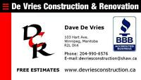 DeVries Construction & Renovation - General Contractor