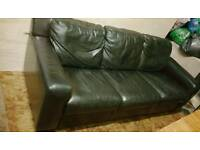 Leather Sofa 3 Seater Dark Brown Man Cave