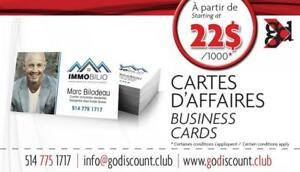 Cartes d'affaires à 20% à 50 % de RABAIS / Business Cards at 20 to 50% save