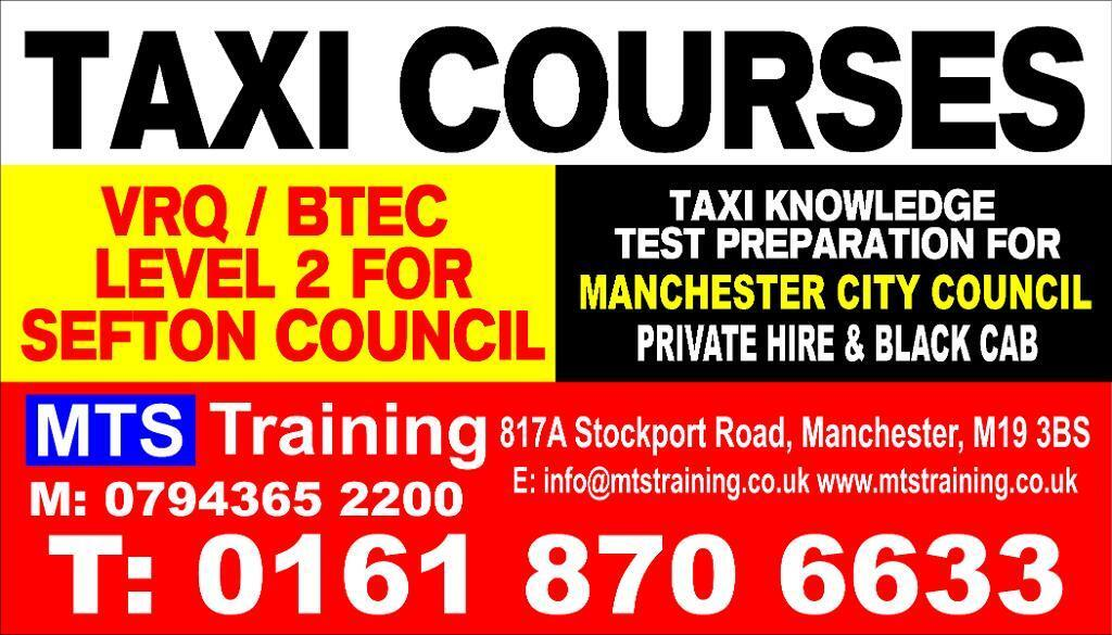 VRQ Taxi Course for Sefton Council and Taxi Knowledge Test