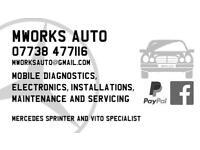 Mworks Auto. Mercedes & VW Audi etc diagnostics & service. Mobile service to your door.