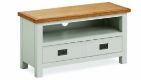 New grey & oak small TV unit with drawer, In Stock Now