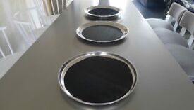 17 x Stainless Steel Bar drink trays for service and events inc rubber non slip mats