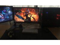 Gaming setup - 2 Monitors 144hz & 60hz, Desktop PC, Large Desk...