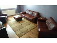 3 Piece Leather Suite with Footstool (3 + 2 + 1 seater)