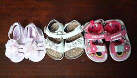 Baby Girl's Sandals x 3 Pairs 3-6 months old