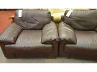 Genuine Natuzzi brown leather chairs