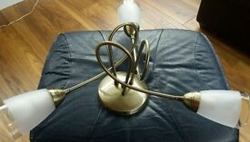 Ceiling Light 3 Arm Antique Brass Effect + Frosted Glass Shades + Bulbs - 1 of 3