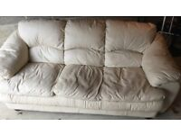 Three Seater and Two Seater Cream Leather Sofas