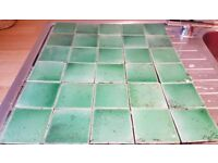 30 USED VINTAGE FIREPLACE INSERT TILES SUIT VICTORIAN EDWARDIAN STYLE