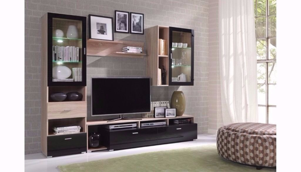 NEW Modern Living Room Furniture SET 4 ITEMS TV Unit Cabinet Stand Wall Display Black Gloss