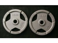 2 x 15kg Olympic Tri Grip Weight Plates