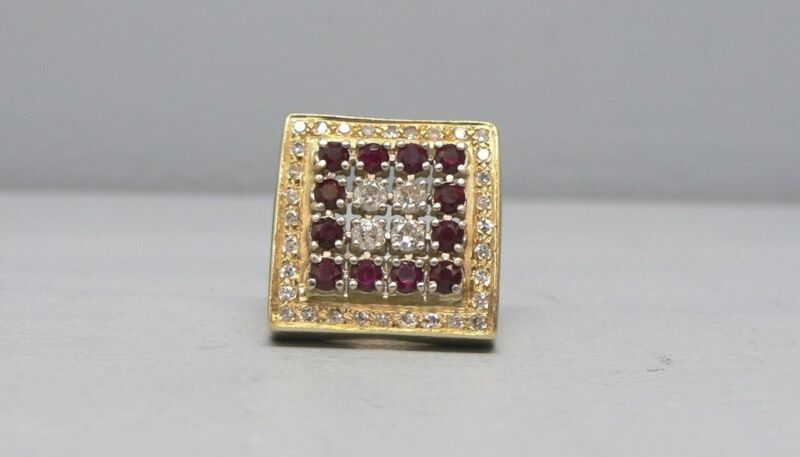 Impressive Huge 14k Gold 3 Ct TW Diamond & Ruby Ring Size 12